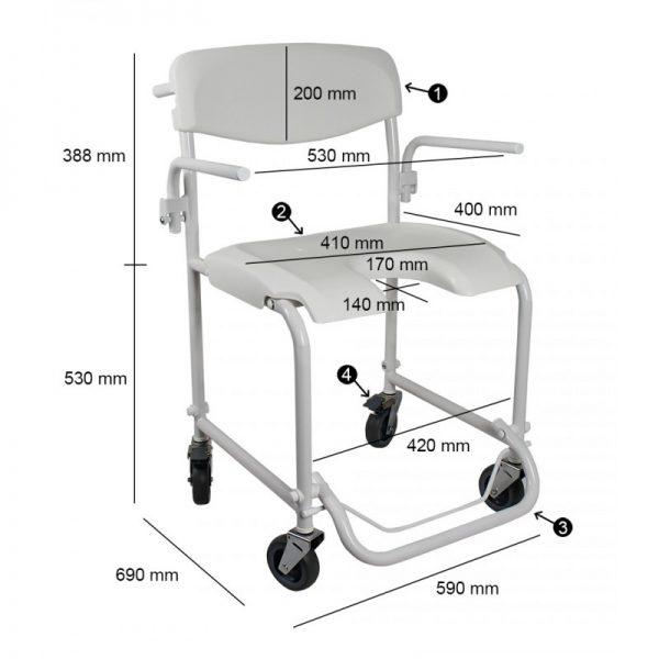 invacare alize silla ducha ruedas asiento u 2