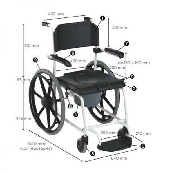 silla de ducha inodoro cascade de invacare con ruedas autopropulsables y frenos 1